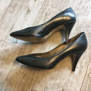 Navy Leather Heels